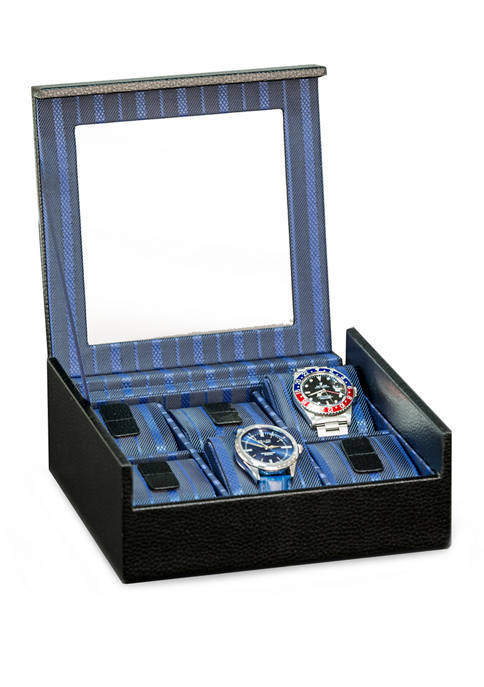 Black Leather Six Watch Case with Glass Top