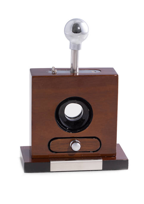 "Lacquered ""Walnut"" Wood and Stainless Steel Table Top Guillotine Cigar Cutter with Drawer for Cuttings"