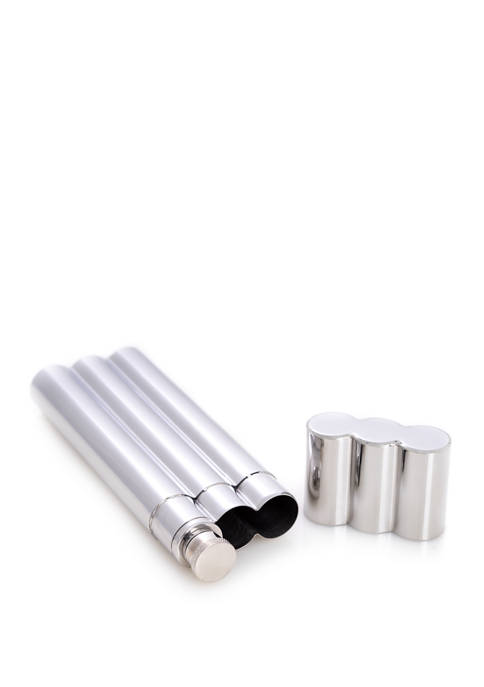 Stainless Steel Double Cigar Tube with 2 Ounce Flask