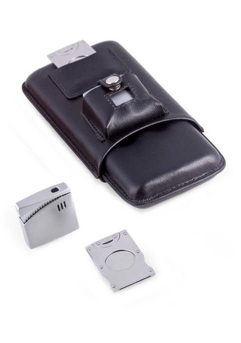 Bey-Berk Black Leather 3 Cigar Holder with Stainless