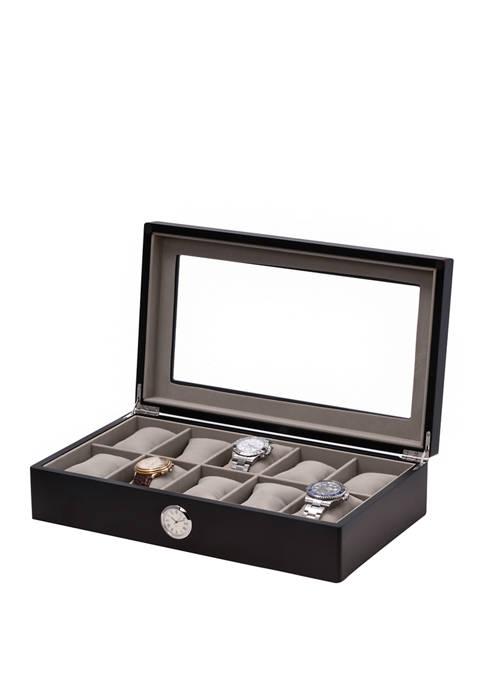 Black Wood 10 Watch Box with Quartz Movement Clock