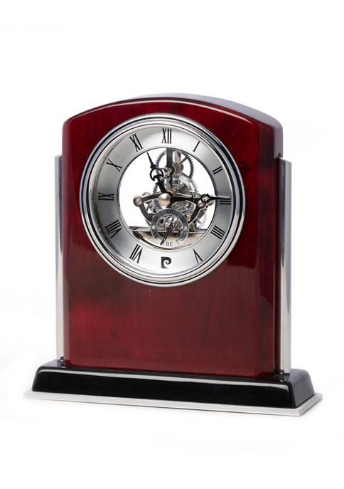 Bey-Berk Lacquered Mahogany Wood Skeleton Movement Clock