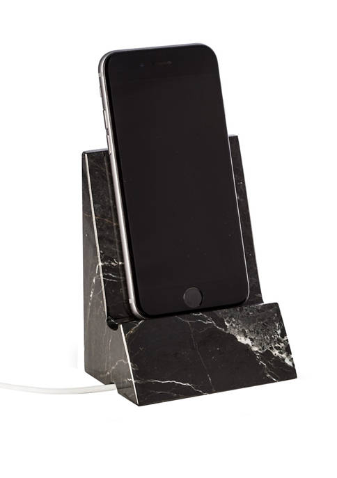 """Black """"Zebra"""" Marble Desktop Phone/Tablet Cradle with Pass Through Hole for Charging Cable"""