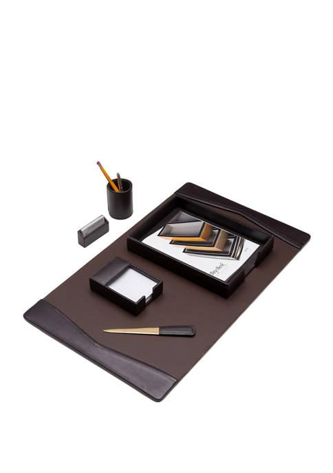 Bey-Berk 6 Piece Brown Leather Desk Set