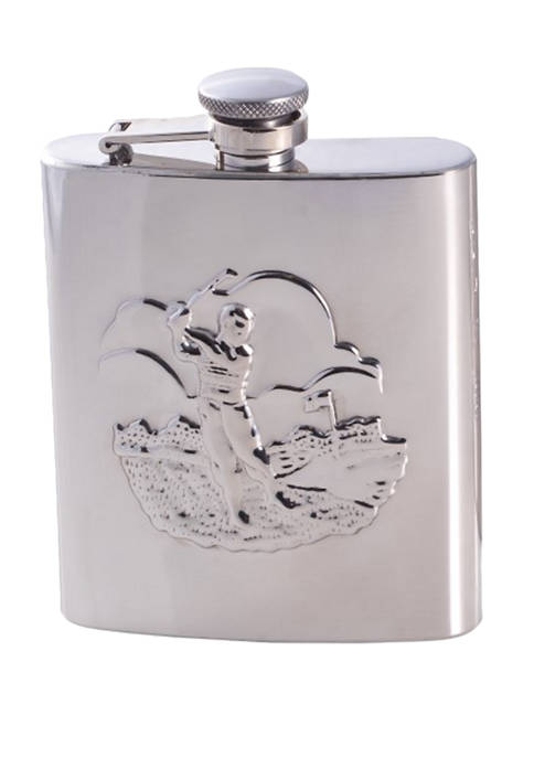 "Bey-Berk 8 Ounce Stainless Steel ""Golfer"" Flask with"