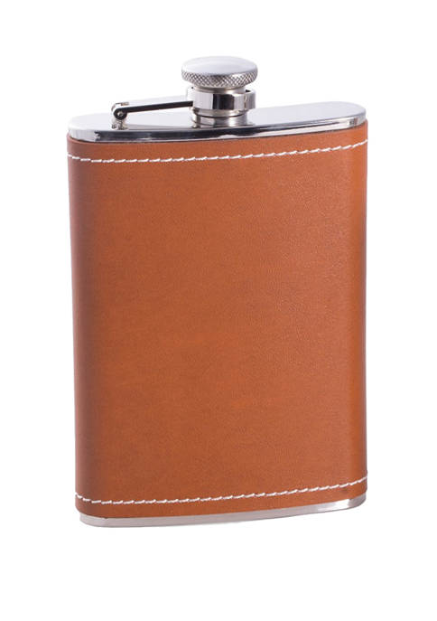 Bey-Berk 8 oz Stainless Steel Saddle Brown Leather