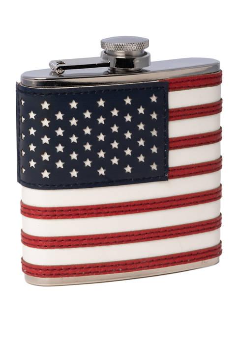 Bey-Berk 6 Ounce American Flag Flask with Captive