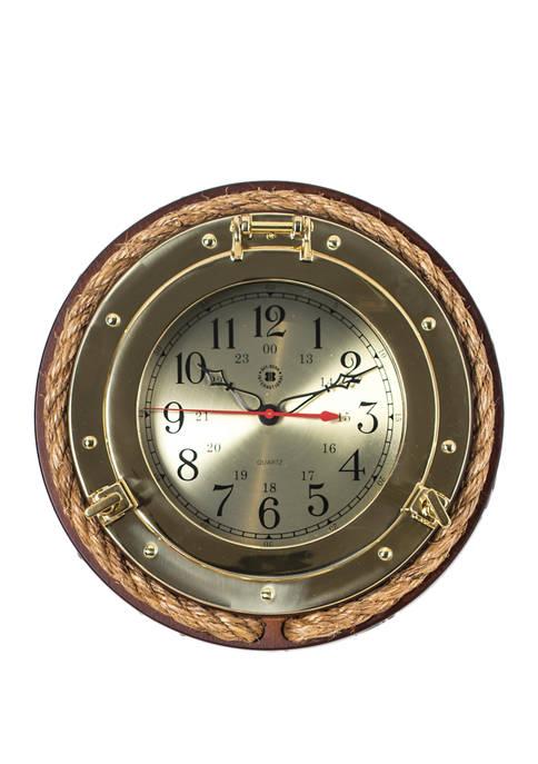 Bey-Berk Brass Porthole Quartz Clock with Fishermans Rope