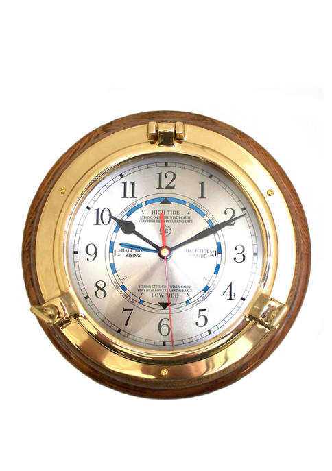 Bey-Berk Lacquered Brass Porthole Tide and Time Quartz