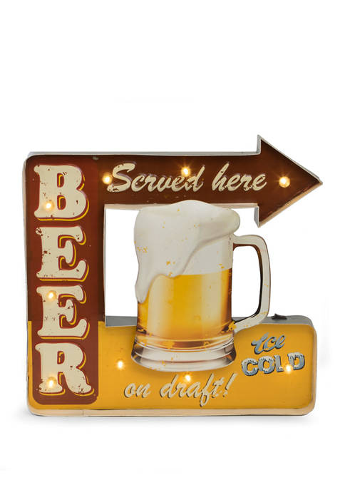 "Bey-Berk LED Lighted, Wall Mountable ""Beer Served Here"""