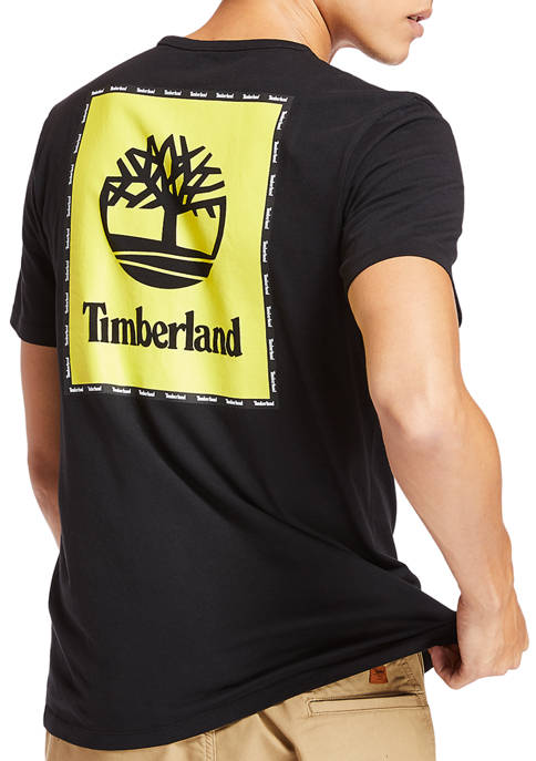 Timberland Mens Short Sleeve Box Logo Graphic T-Shirt