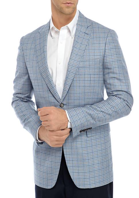 Blue Gray Check Windowpane Sport Coat