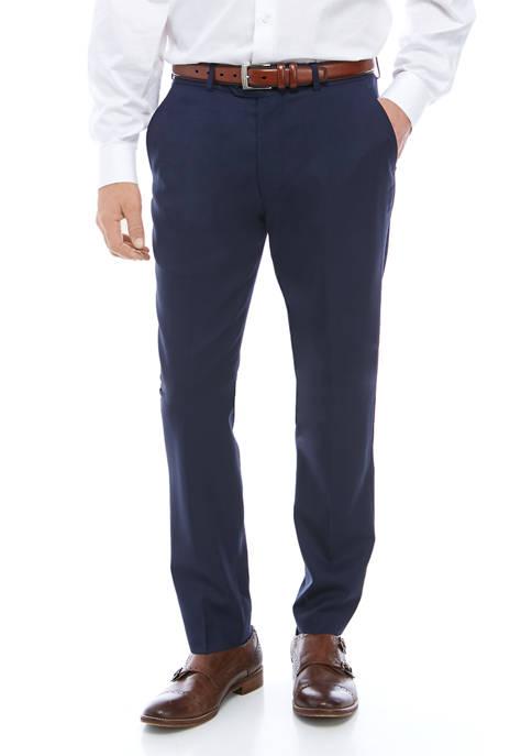 Mens Blue Sharkskin Solid Pants