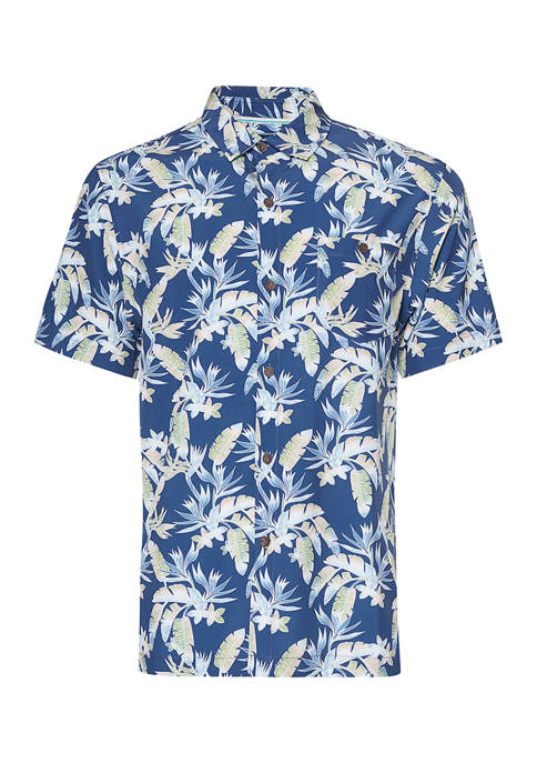 Caribbean Joe Mens Short Sleeve Printed Button Down