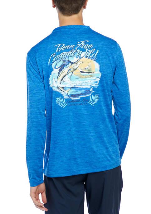 Caribbean Joe Mens Long Sleeve Fish Graphic T-Shirt