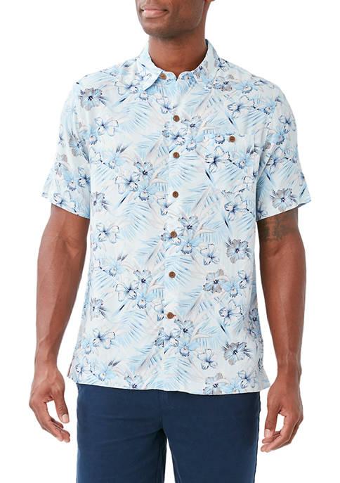 Caribbean Joe Mens Hibiscus Print Button Down Shirt