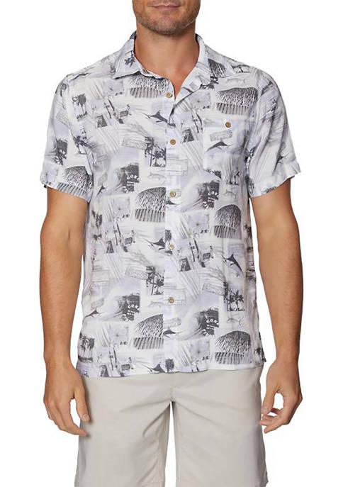 Caribbean Joe Mens Short Sleeve Printed island Button
