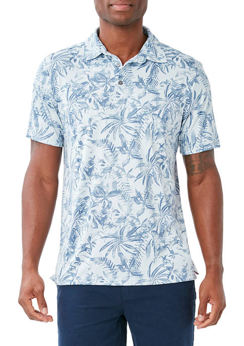 Caribbean Joe Mens Short Sleeve Tropical Print Polo