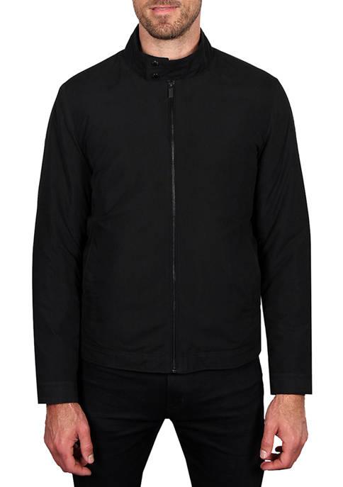 Mens Microfiber Golf Jacket with Corduroy Trim on Collar
