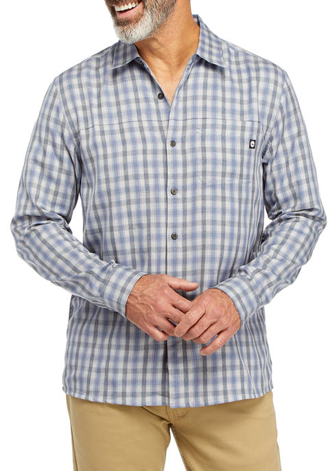 HI-TEC Mens Long Sleeve Plaid Button Down Shirt