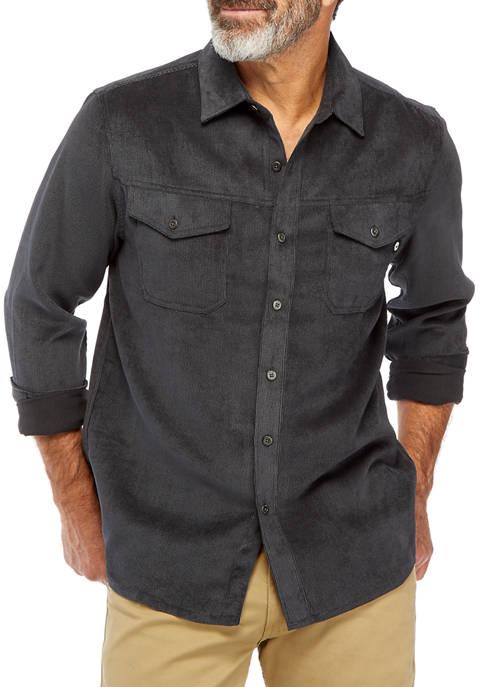 HI-TEC Mens Cowhide Corduroy Button Down Shirt
