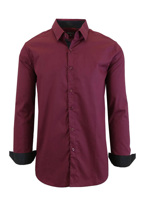 Galaxy Mens Long Sleeve Stretch Dress Shirt