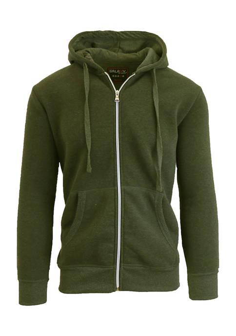 Galaxy Mens Full Zip Fleece Hooded Sweatshirt