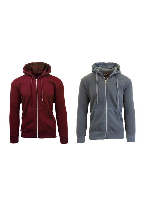 Mens Full Zip Fleece Hooded Sweatshirt (2 Pack)