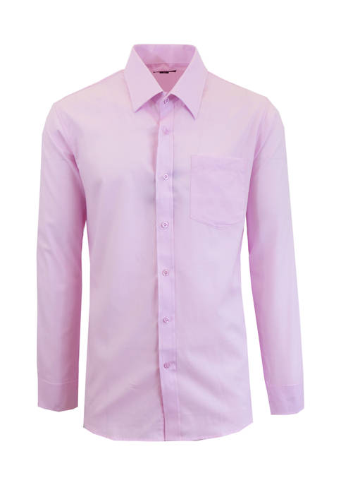 Galaxy Mens Long Sleeve Solid Dress Shirt
