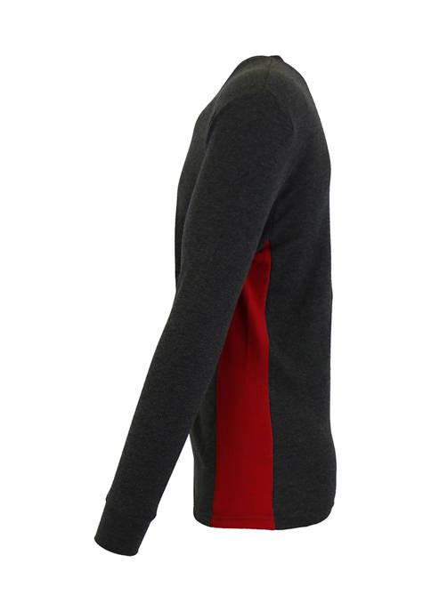 Galaxy Mens Waffle Knit Thermal Shirt with Contast
