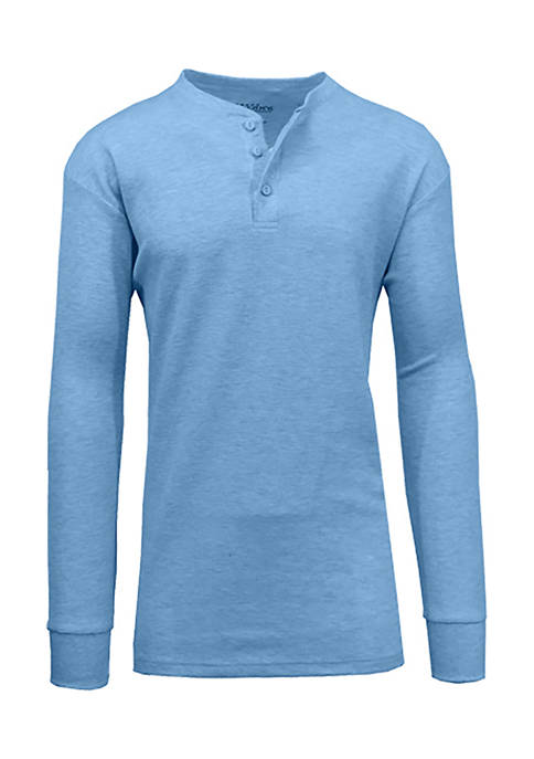 Galaxy Mens Long Sleeve Thermal Henley Shirt