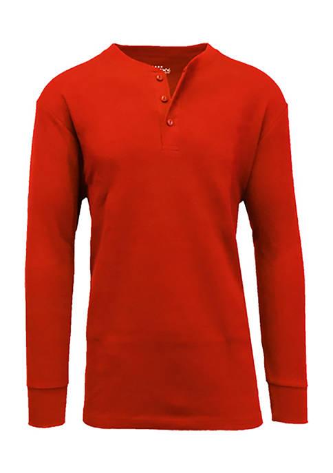 Mens Long Sleeve Thermal Henley Shirt