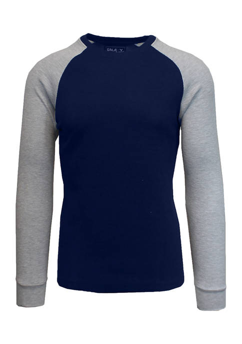 Galaxy Mens Long Sleeve Thermal Shirt with Contrast