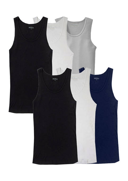 Galaxy by Harvic Mens 6-Pack Classic Stretch Tank