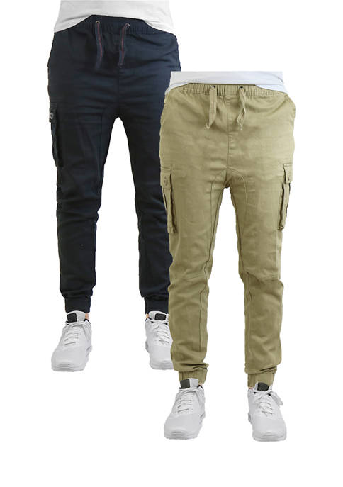 Mens Slim Fit Stretch Cargo Joggers 2 Pack