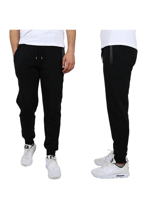 Mens Skinny Fit French Terry Joggers with Tech Zipper Pockets