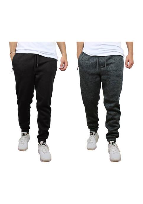 Galaxy Mens Slim-Fit Fleece Joggers- 2 Pack