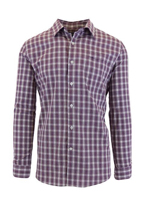 Galaxy Mens Long Sleeve Plaid Slim Dress Shirt