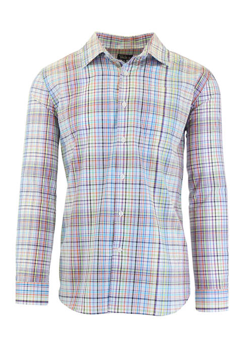 Mens Long Sleeve Plaid Slim Dress Shirt
