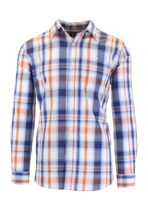 Galaxy Mens Long Sleeve Plaid Slim Dress Shirt