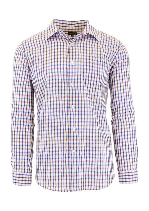 Mens Long Sleeve Plaid Slim Dress Shirt