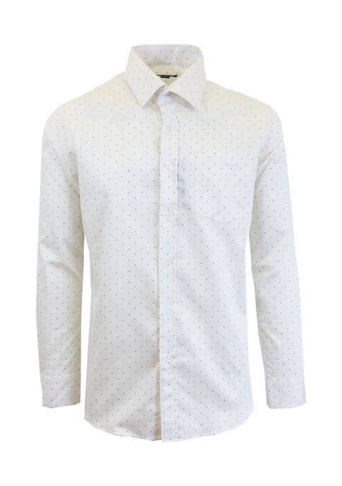 Galaxy Mens Long Sleeve Polka Dot Dress Shirt