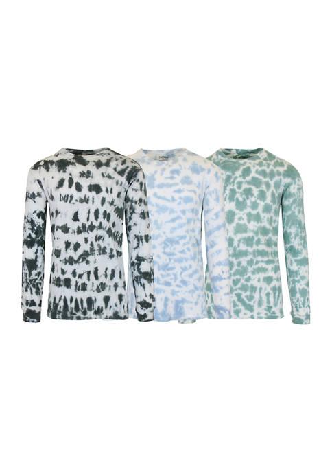 Galaxy by Harvic Long Sleeve Tie-Dye Cotton T-Shirt