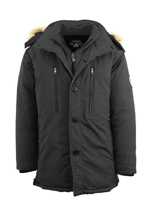 Mens Hevayweight Double Layer Hooded Long Parka Jacket