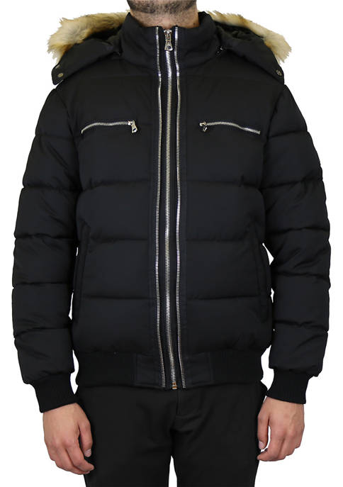 Mens Heavyweight Jacket With Detachable Fur Hood