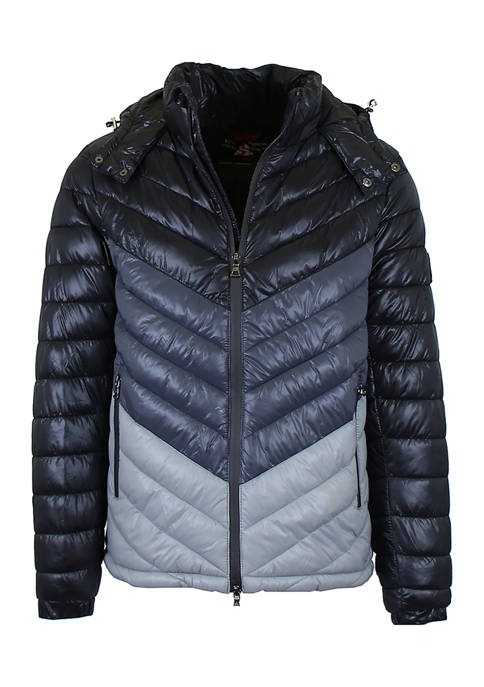Mens Heavyweight Quilted Hooded Puffer Bubble Jacket