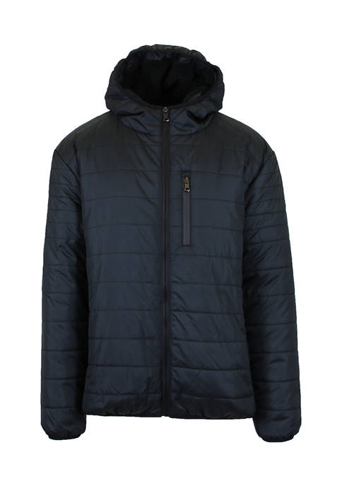 Mens Sherpa  Lined Hooded Puffer Jacket