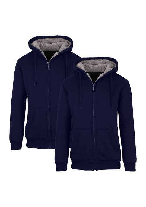 Mens Sherpa Lined Fleece Zip Up Hoodie 2 Pack