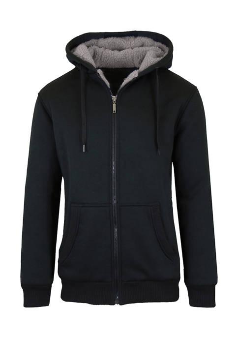 Galaxy Mens Sherpa Lined Fleece Zip Up Hoodie
