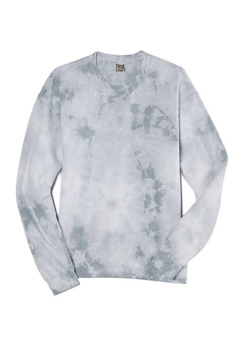 Gray Ice Tie Dye Crew Fleece Pullover